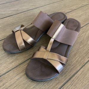 Dexflex Comfort Brown Slip on sandal with heel